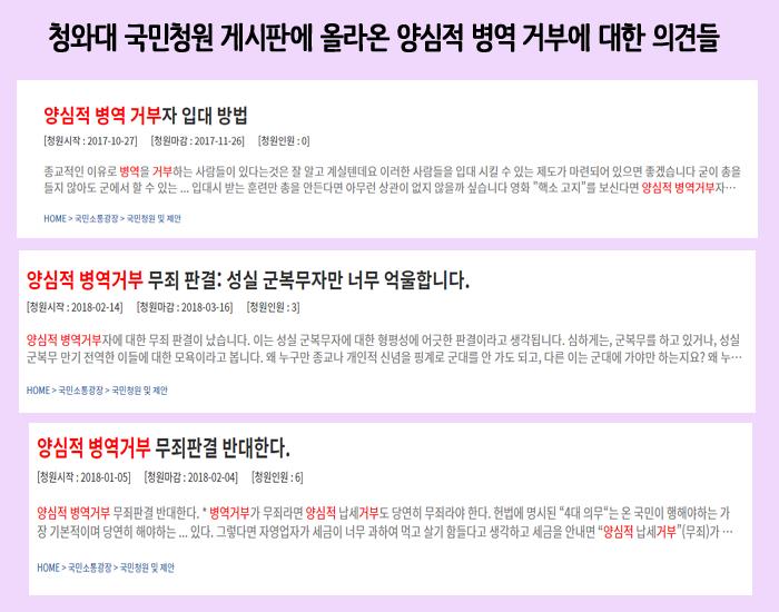 청와대 국민청원 게시판에 올라온 양심적 병역 거부에 대한 의견들.png